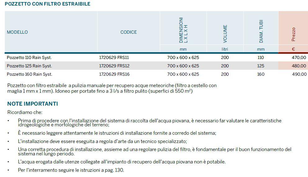 POZZETTO FILTRO ESTRAIBILE RAIN BASIC M - LAMPLAST - FERMO - MARCHE