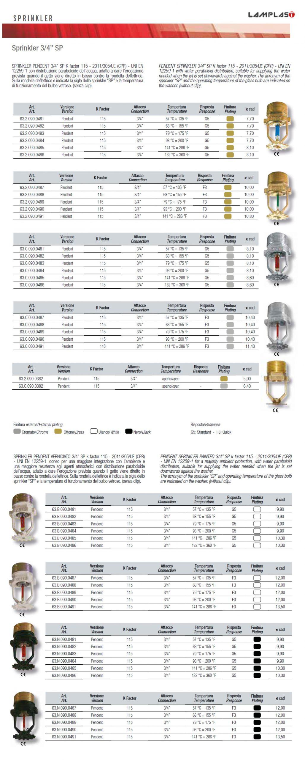 SPRINKLER 34 SP - ANTINCENDIO - LAMPLAST - FERMO - MARCHE - LIST2104